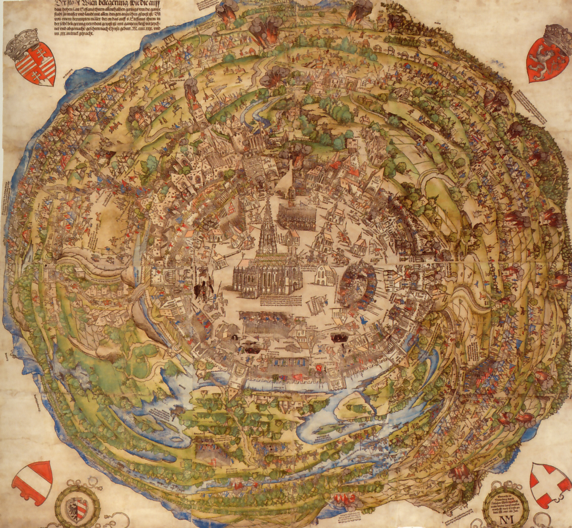 Circular map of Vienna, with St. Stephen's Cathedral at the center