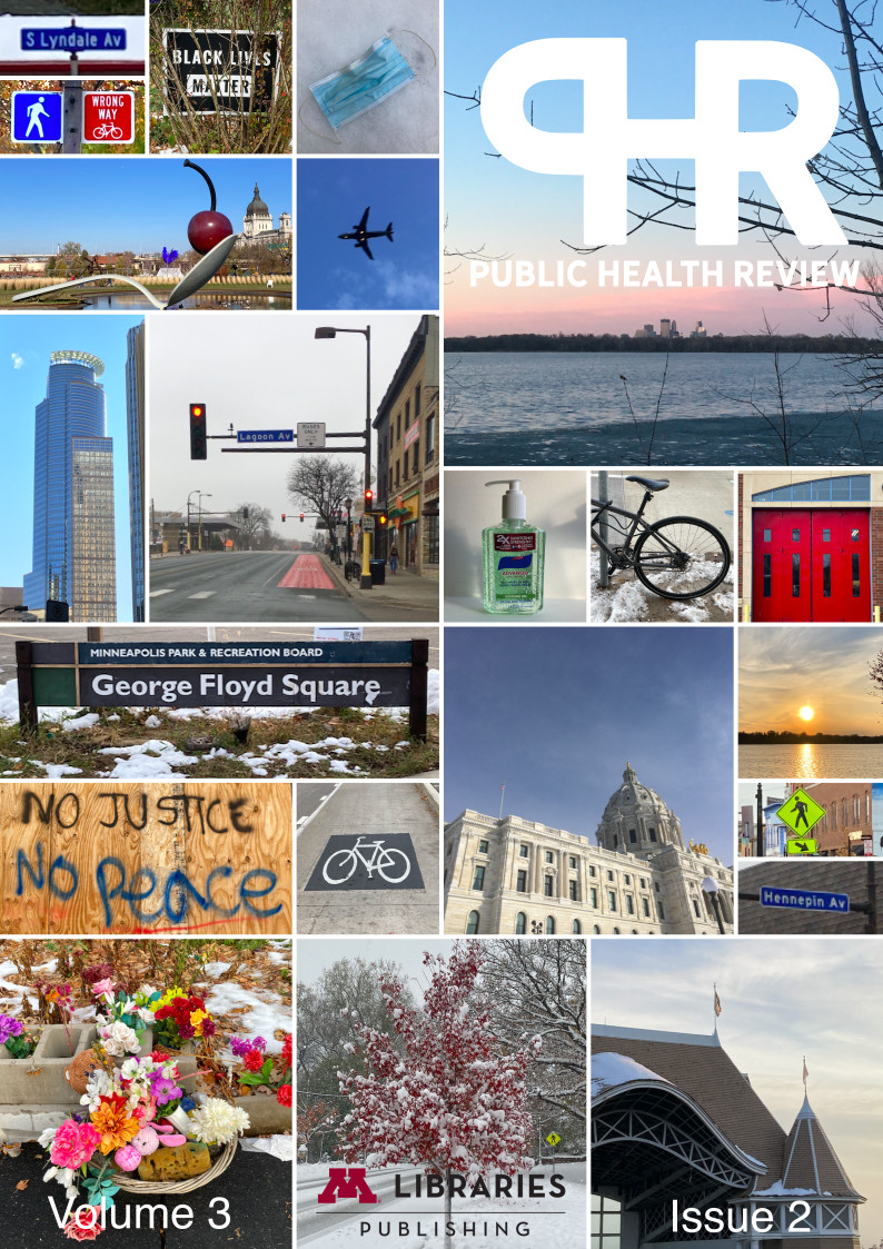 The cover includes many squares and rectangles of varying height, each with a different image. Images include a Black Lives Matter sign, a bike and crossing sign, the signs for S Lyndale Ave and Hennepin Ave, a surgical mask lying on the ground, a plane, the big spoon with a cherry, a skyscraper, a stoplight, a bottle of Purell, a bike, red doors, the George Floyd Square sign, a board with the words No Justice No Peace, the symbol of a bike on the ground, the capitol building, a sunset, the Harriet Lake pavilion, flowers at George Floyd's memorial, a lake, and a tree.